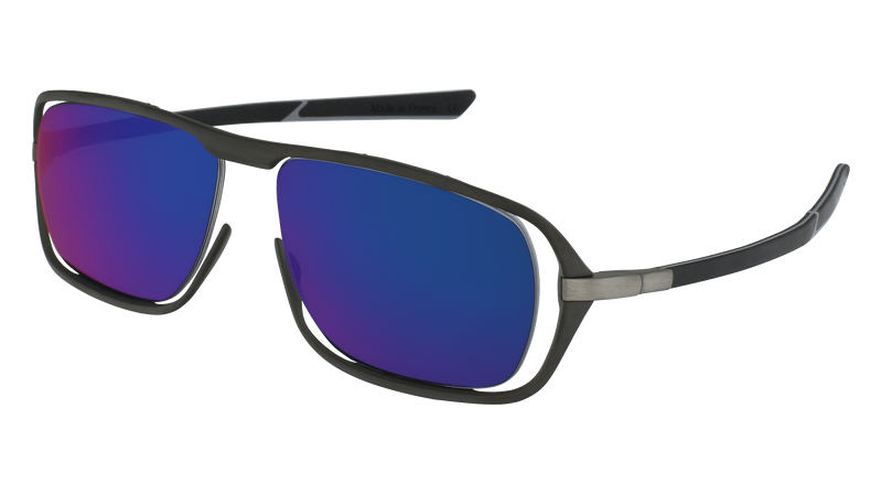 McLaren Eyewear Sunglasses Matte Anthracite Front & Black/Light Grey Temples with Blue Yachting Polarized Lenses McLaren Ultimate S03 3-D Titanium Printed Sunglasses