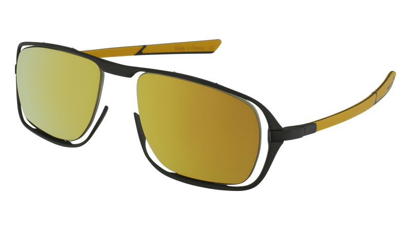 McLaren Eyewear Sunglasses Matte Black Front & Yellow/Black Temples with Yellow Outdoor Polarized Lenses McLaren Ultimate S03 3-D Titanium Printed Sunglasses