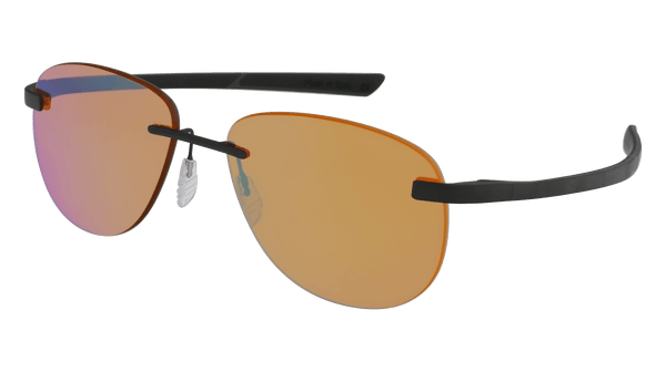 McLaren Eyewear Sunglasses Matte Black with Black/Dark Grey Temples & Golf Brown Solid Lenses / 57-16-130 Large Size McLaren Super Series 17C Rimless Aviator Sunglasses