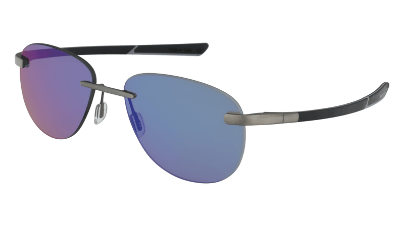 McLaren Eyewear Sunglasses Matte Black with Blue-Mirrored Polarized Driving Lenses / 57-16-130 (Large Size) McLaren Super Series 17C Rimless Aviator Sunglasses