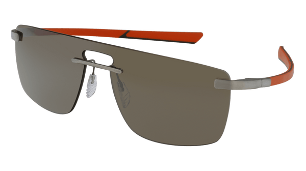McLaren Eyewear Sunglasses Matte Pure Front with Black/Orange Temples and Solid Brown Lenses / 128-0-130 Medium Size McLaren Super Titanium 22 Shield Sunglasses-NEW!