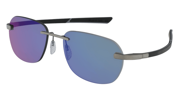 McLaren Eyewear Sunglasses Pure Brushed Front with Black/Light Grey Temples & Polarized Yachting Lenses / 57-18-130 Large Size McLaren Super Series 19C Rimless Sunglasses
