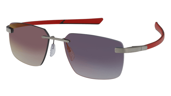 McLaren Eyewear Sunglasses Pure Brushed Front with Red/Black Temples and Urban Grey Base + Red Flash Lenses McLaren Super Series 20 Rimless Sunglasses-NEW!