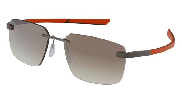 McLaren Eyewear Sunglasses Pure Matte Front with Orange/Black Temples and Gradient Driving Lenses McLaren Super Series 20 Rimless Sunglasses-NEW!