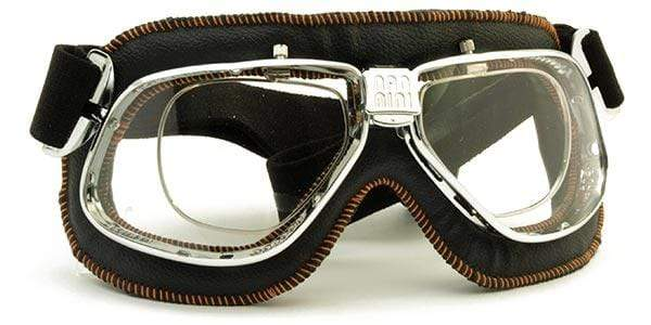 Nannini Italy Driving Goggles Chrome & Black Leather with Grey AntiFog Lenses Nannini Cruiser 4V Prescription Driving Goggles