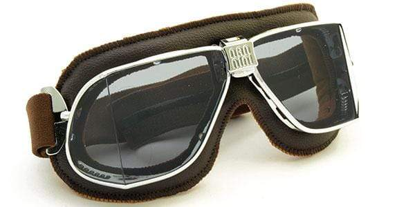Nannini Italy Driving Goggles Chrome & Brown Leather with Clear AntiFog Lenses Nannini Custom Driving Goggles