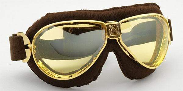 Nannini Italy Driving Goggles Golden & Brown Leather with Yellow Lenses Nannini TT Driving Goggles