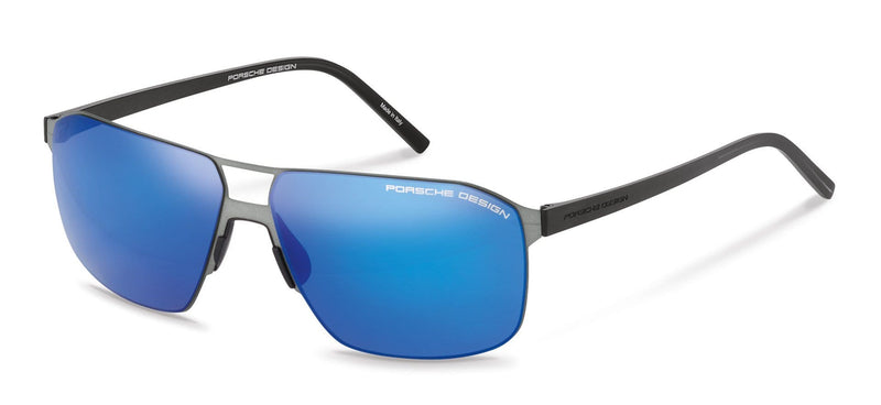 Porsche Design Sunglasses A-Anthracite with Strong Dark Blue Mirror Lenses / 60-12-145 Large Size P8645 Porsche Design Sunglasses