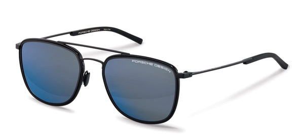 Porsche Design Sunglasses A-Black with Black/Dark Blue Mirrored Lenses / 56-19-145 Medium Size P8692 Porsche Design Sunglasses