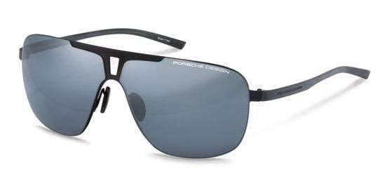 Porsche Design Sunglasses A-Black with Blue/Black Mirrored Lenses / 67-08-135 Extra Large Size P8655 Porsche Design Sunglasses
