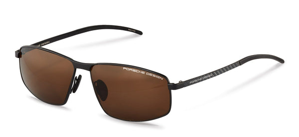 Porsche Design Sunglasses A-Black with Brown Polarized Driving Lenses / 60-13-140 Medium Size P8652 Porsche Design Sunglasses