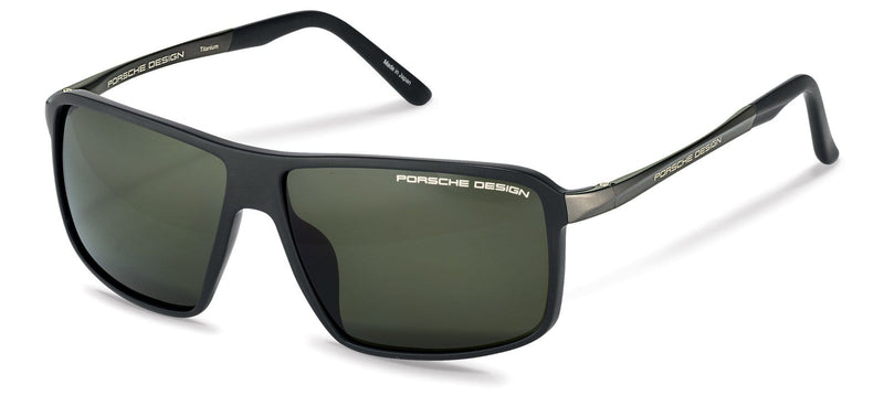 Porsche Design Sunglasses A-Black with Grey/Green Polarized Driving Lenses / 60-12-135 Medium Size P8650 Porsche Design Sunglasses