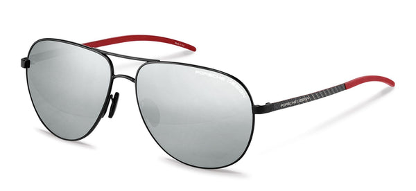 Porsche Design Sunglasses A-Black with Mercury Silver Mirrored Lenses / 63-14-140 Large Size P8651 Porsche Design Sunglasses