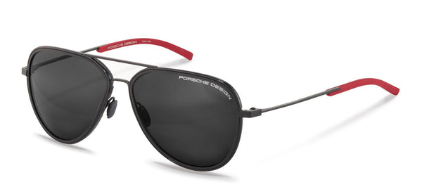 Porsche Design Sunglasses A-Black with SunPolarized Grey Driving Lenses / 60-14-145 Medium Size P8691 Porsche Design Sunglasses