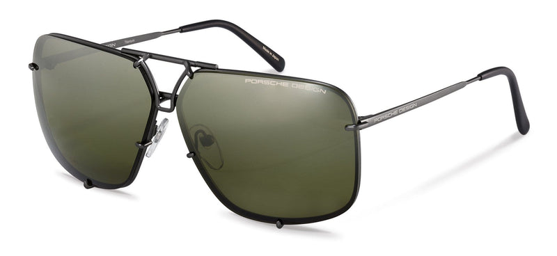 Porsche Design Sunglasses A-Dark Gunmetal with 2 Lens Pairs: Grey Gradient and Olive Green Polarized Driving / 65-10-140 Large Size P8928 Porsche Design Sunglasses-New!