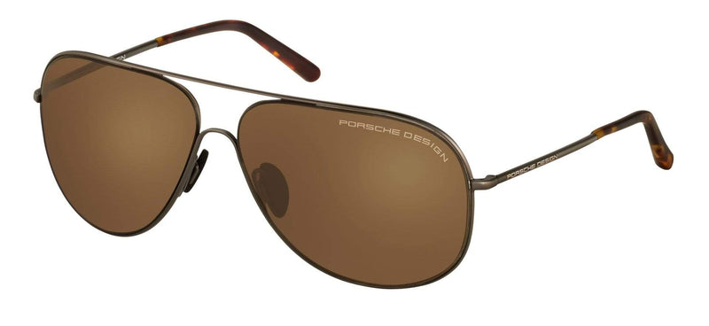 Porsche Design Sunglasses A-Dark Gunmetal with Brown Lenses / 64-12-140 Large Size P8605 Porsche Design Sunglasses