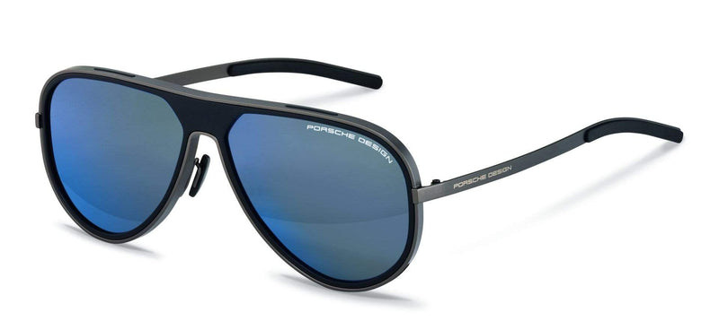 Porsche Design Sunglasses A-Gunmetal with Black-Dark Blue Lenses / 62-13-140 Large Size P8684 Porsche Design Sunglasses