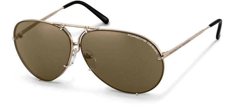 "Porsche Design Sunglasses A-Light Gold with Brown, Light Blue, & Silver Mirrored Lens Pairs / 60-10-135 Small Size P8478 Porsche Design ""Iconic"" Sunglasses"