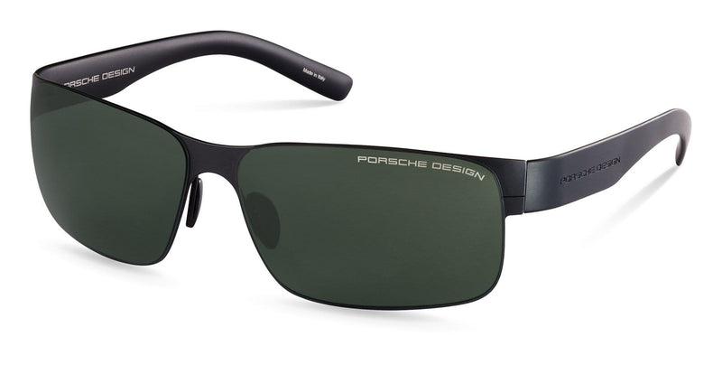 Porsche Design Sunglasses B-Black with Green Lenses / 63-13-135 Large Size P8573 Porsche Design Sunglasses