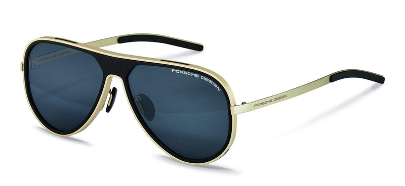 Porsche Design Sunglasses B-Gold/Black with Blue-Black Mirrored Lenses / 62-13-140 Large Size P8684 Porsche Design Sunglasses