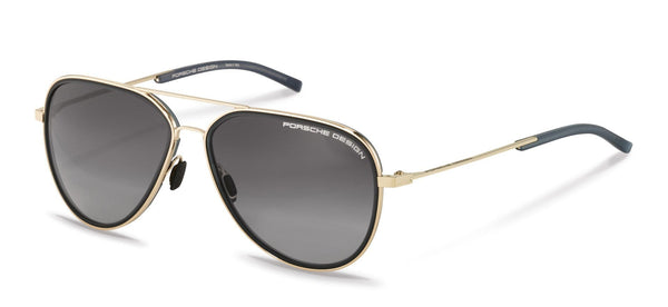 Porsche Design Sunglasses B-Gold with Black/Grey Gradient Lenses / 60-14-145 Medium Size P8691 Porsche Design Sunglasses