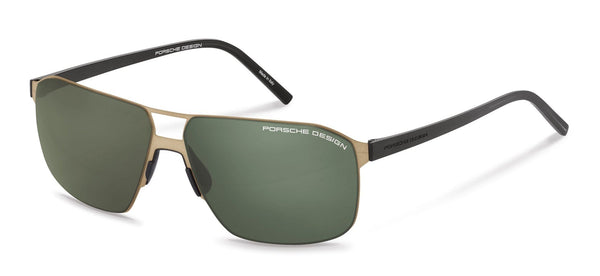 Porsche Design Sunglasses B-Gold with Green Lenses / 60-12-145 Large Size P8645 Porsche Design Sunglasses