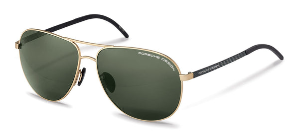 Porsche Design Sunglasses B-Gold with Grey/Green Polarized Driving Lenses / 63-14-140 Large Size P8651 Porsche Design Sunglasses