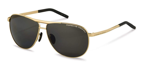 Porsche Design Sunglasses B-Gold with Grey Polarized Lenses / 62-11-140 Large Size P8642 Porsche Design Sunglasses