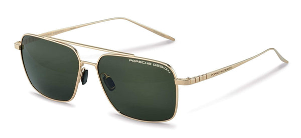 Porsche Design Sunglasses B-Gold with SunPolarized Green Driving Lenses / 58-14-150 Medium Size P8679 Porsche Design Sunglasses