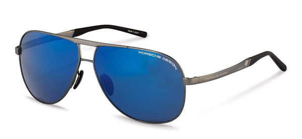 Porsche Design Sunglasses B-Grey with Strong Dark Blue Mirrored Lenses / 62-11-140 Large Size P8657 Porsche Design Sunglasses