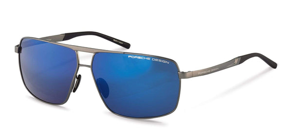Porsche Design Sunglasses B-Grey with Strong Dark Blue Mirrored Lenses / 64-11-140 Large Size P8658 Porsche Design Sunglasses