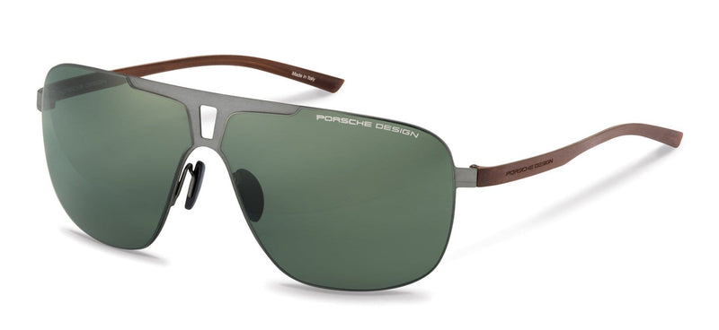 Porsche Design Sunglasses B-Gunmetal with Green Lenses / 67-08-135 Extra Large Size P8655 Porsche Design Sunglasses