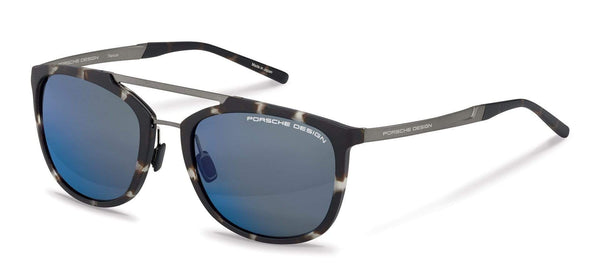 Porsche Design Sunglasses B-Havana with Dark Blue Mirrored Lenses / 55-20-140 Small Size P8671 Porsche Design Sunglasses