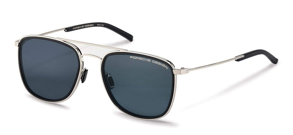 Porsche Design Sunglasses B-Silver & Black with Blue/Blue Mirrored Lenses / 56-19-145 Medium Size P8692 Porsche Design Sunglasses
