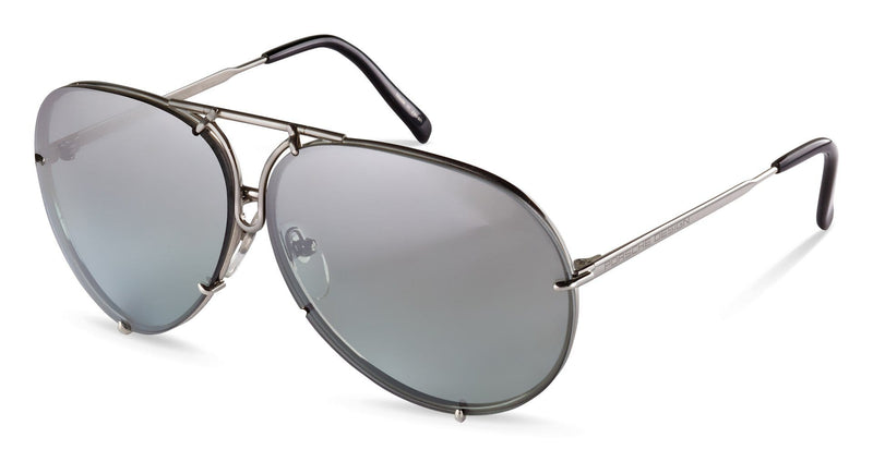 "Porsche Design Sunglasses B-Titanium with Grey Gradient, Green, & Silver Mirror Lens Pairs / 60-10-135 Small Size P8478 Porsche Design ""Iconic"" Sunglasses"