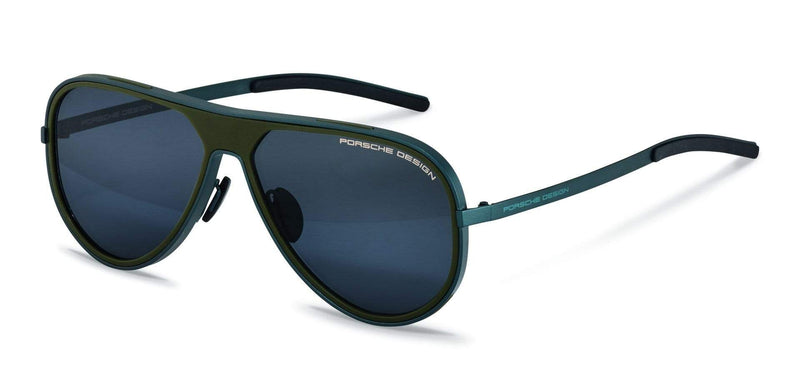Porsche Design Sunglasses C-Blue/Olive with Blue-Black Mirrored Lenses / 62-13-140 Large Size P8684 Porsche Design Sunglasses
