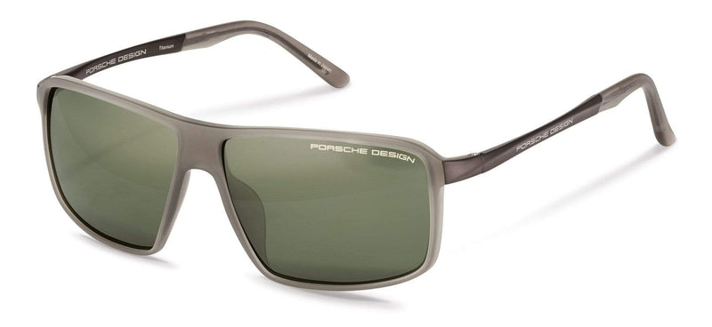 Porsche Design Sunglasses C-Light Grey with Olive Silver Mirrored Lenses / 60-12-135 Medium Size P8650 Porsche Design Sunglasses