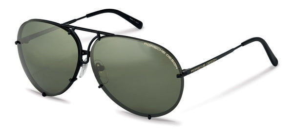 "Porsche Design Sunglasses D-Black & Olive- Silver Mirror, and Brown Lens Pairs / 66-10-135 Large Size P8478 Porsche Design ""Iconic"" Sunglasses"