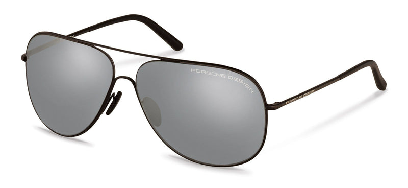 Porsche Design Sunglasses D-Black with Silver Mirrored Lenses / 64-12-140 Large Size P8605 Porsche Design Sunglasses