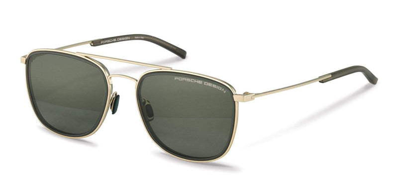 Porsche Design Sunglasses D-Gold & Olive with Olive Lenses / 56-19-145 Medium Size P8692 Porsche Design Sunglasses