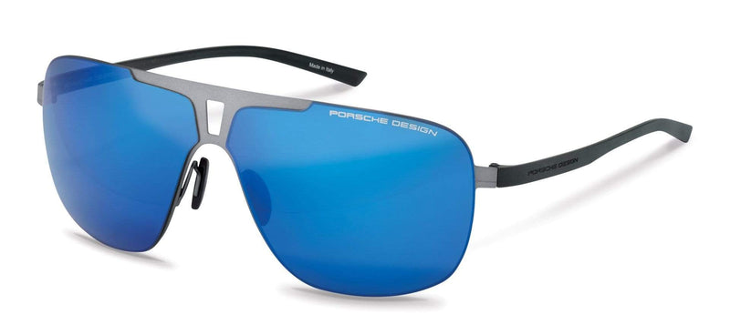 Porsche Design Sunglasses D-Grey with Blue Silver Mirrored Lenses / 67-08-135 Extra Large Size P8655 Porsche Design Sunglasses