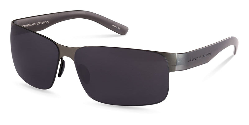 Porsche Design Sunglasses D-Gunmetal with Grey Lenses / 63-13-135 Large Size P8573 Porsche Design Sunglasses