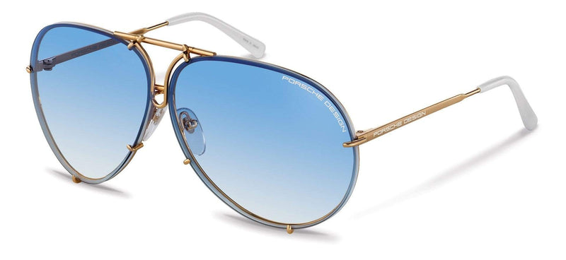 "Porsche Design Sunglasses W-Yellow Gold & White with Blue Gradient & Brown Lens Pairs / 66-10-135 Large Size P8478 Porsche Design ""Iconic"" Sunglasses"