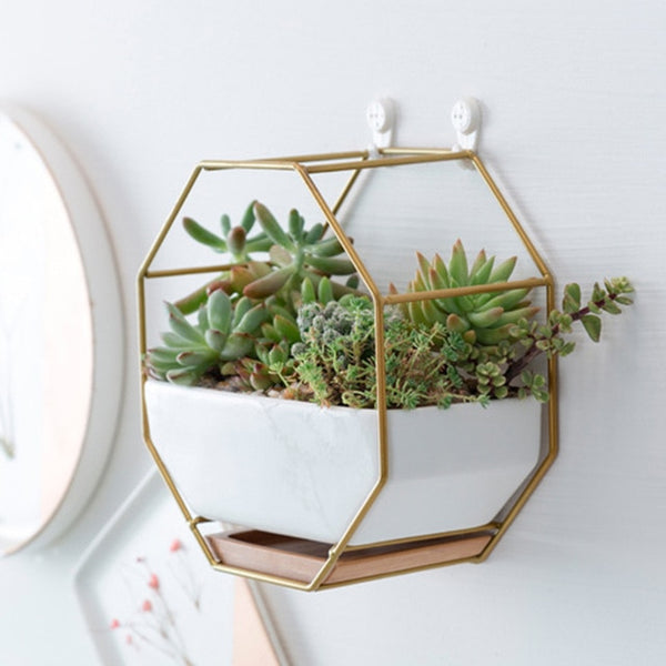 Nordic style Metal Rack White Ceramic Vase Planter Pot Octagonal Geometric Wall Hanging Ceramic vases for flowers Bamboo Tray