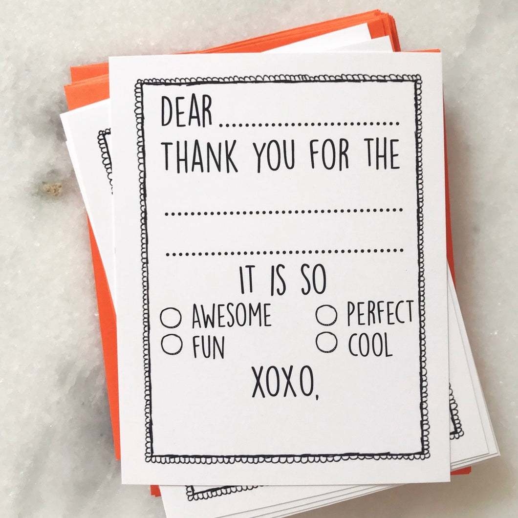 Fill in the Blank Thank You Cards