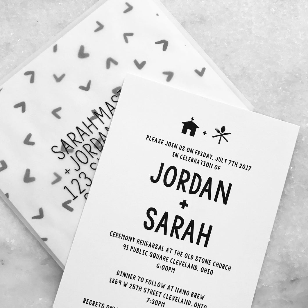 B+W casual invitation