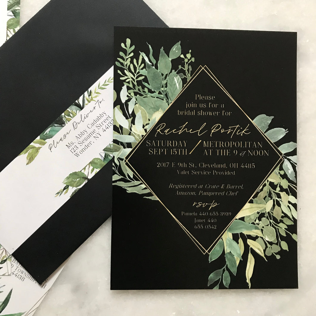 Black Botanical Invitation
