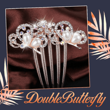Load image into Gallery viewer, Pearl Rhinestone 5-Teeth Hair Combs - 2PCS