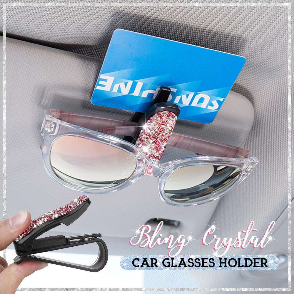 Bling Crystal Car Glasses Holder hvashop Pink