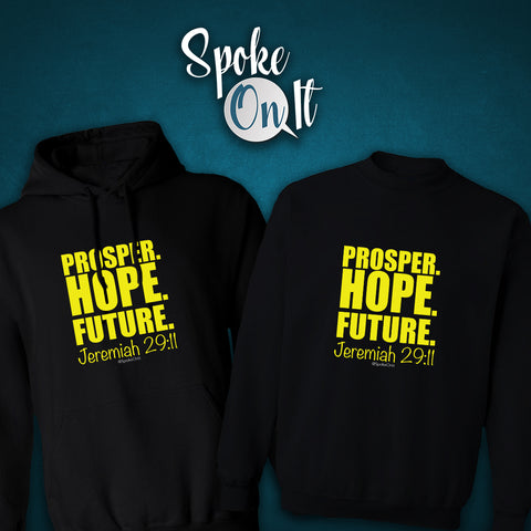 Prosper. Hope. Future. Jeremiah 29:11 Hoodie / Sweatshirt (Additional Colors)